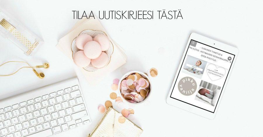 Tilaa asiakkaiden keskuudessa suosittu PikkuVanilja -uutiskirje! PikkuVanilja on vaaleansävyisten vauvantarvikkeiden verkkokauppa. Uutiskirjeestä saat paljon inspiraatiota lastenhuoneen sisustukseen, lasten muotiin ja perhe-elämään!