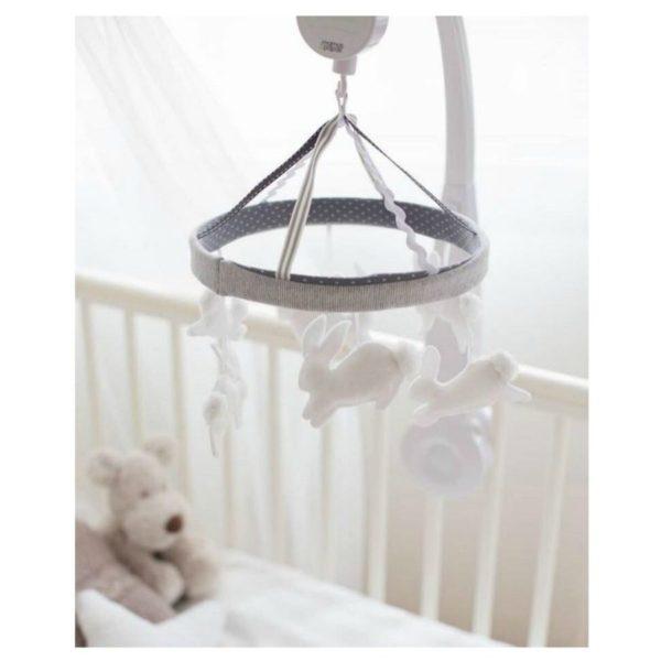 Pieni vauva viettää suuren osan hereilläoloajastaan sylissä tai selällään maaten ja tarkkaillen. Pieni vauva ei vielä pääse liikkumaan, joten kiinnostavat asiat on tuotava hänen luokseen. Vauva viihtyy sängyssään paljon paremmin, jos se on mielenkiintoinen paikka! Soiva ja rauhallisesti pyörivä Welcome to the World- mobile herättää vauvan huomion ja rauhoittaa vauvaa. Monet vauvat myös nukahtavat hyvin kuunnellessaan mobilen pehmeää ja tyynnyttävää musiikkia.