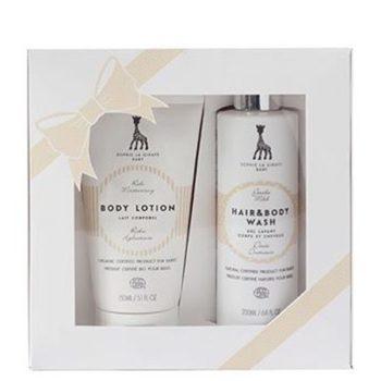 Sophie la girafe Baby lahjapakkaus vauvalle sisältää kaikille lapsille sopivan suihkugeelin ja vartalovoiteen. Nämä ihonhoitotuotteet sopivat herkällekin iholle. Tämä lahjapakkaus on ihana lahjaidea lapsiperheelle!
