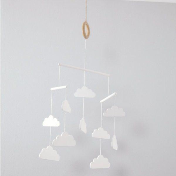 Mamas&Papas puinen, valkoinen pilvimobile vauvalle