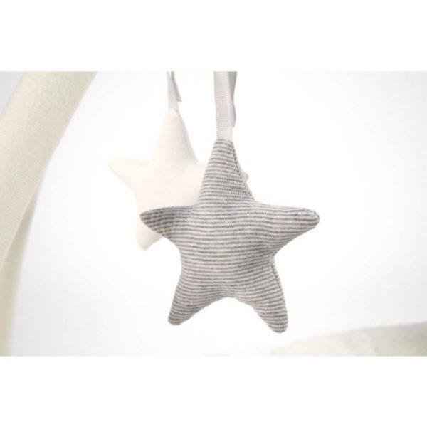 Vaaleansävyisessä Mamas&Papas leikkimatossa on lelukaaresta irroitettavissa olevat helisevät tähdet. Niiden lisäksi maton mukana tulee pupupehmolelu ja uniliina vauvalle.