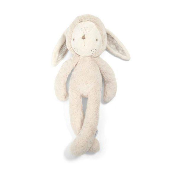 Tämä suloinen ja kevyt pupu kulkee helposti vauvan mukana paikasta toiseen! Vaaleansävyinen pupu on suloisenpehmeä ja sileä, täydellinen unikaveri vauvalle! Vauvat rakastavat pupun pitkiä jalkoja ja lelusta saa hyvän haliotteen.