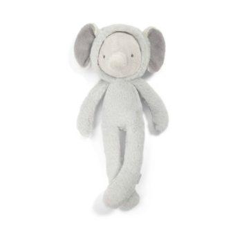 Tämä suloinen ja kevyt elefantti kulkee helposti vauvan mukana paikasta toiseen! Vaaleanharmaa norsu on suloisenpehmeä ja sileä, täydellinen unikaveri vauvalle! Vauvat rakastavat norsun pitkiä jalkoja ja lelusta saa hyvän haliotteen.