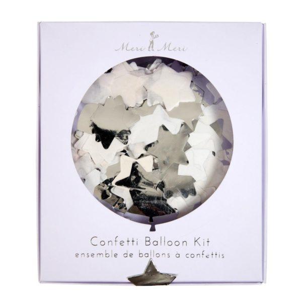 Confetti-ilmapallosetti sisältää kaiken tarvittavan, jotta saat lastenjuhliin näyttäviä, kimmeltäviä hopeatähtisiä ilmapalloja!