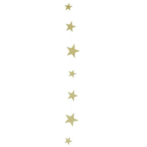 Kaunis ja herkkä viirinauha, jossa on erikokoisia tähtiä. Glitterkultaiset tähdet kimmeltävät kauniisti ja ovat kiinni toisissaan lähes läpinäkyvällä, ohuella nauhalla.