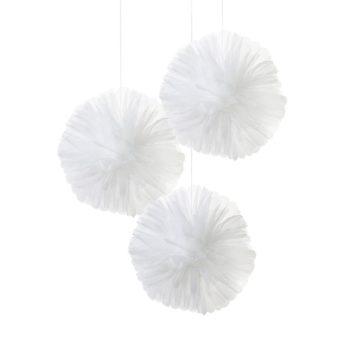 Pompomit ovat yksinkertaisen kaunis koriste mihin tahansa juhliin. Pompomeja ripustamalla koristelet nopeasti baby shower -juhlat, ristiäiset tai lasten syntymäpäivät. Pompomit ovat myös suloinen koriste lastenhuoneessa! Yhdistä pompomit ilmapalloihin ja viireihin ja juhlakoristelut ovat valmiina!