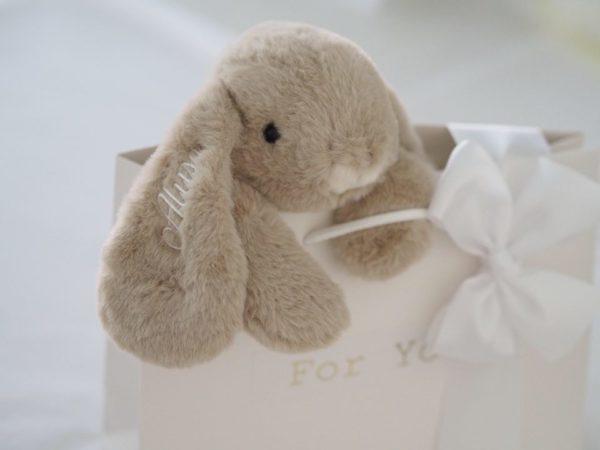 Bukowski Lovely Kanini pehmopupu lahjapaketoituna, beige Silkkisen sileä, suloistakin suloisempi Bukowski pupu on yksi kauneimpia vaaleansävyisiä pehmoleluja. Tästä tulee vauvan suosikki ja leikki-ikäisen lapsen hyvä kaveri. Pehmopupu sopii sekä halikaveriksi että lastenhuoneen sisustukseen. Voit myös tilata pupun lapsen omalla nimellä. Nimi brodeerataan pupun korvaan väriin sopivilla kaunokirjaimilla.