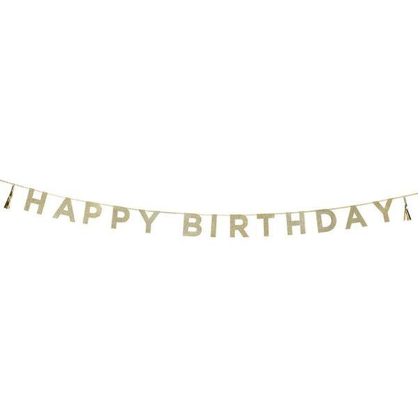 Happy Birthday kultainen glitterviirinauha. Tässä kauniisti kimmeltävässä viirissä on kultainen nauha, jossa glitterkultaisen kirjaimet muodostavat sanat Happy Birthday. Tekstin molemmilla puolilla roikkuvat kultaiset tasselit. Tyylikäs viirinauha syntymäpäiväjuhliin!