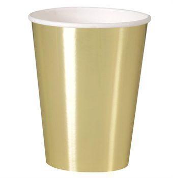 Kultaiset kiiltävät mukit Upeat kiiltäväpintaiset mukit tyylikkäästi kullansävyisenä. Mukit tuovat juhlapöytään välittömästi viimeisteltyä tunnelmaa.