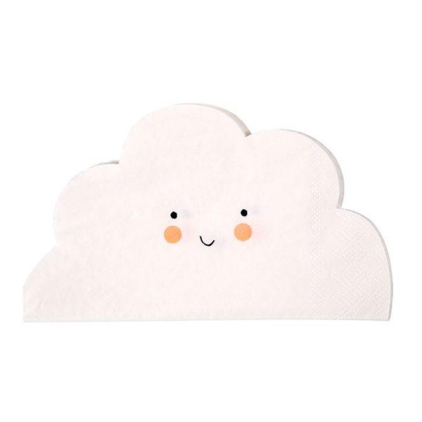Suloiset pilvi lautasliinat Lastenjuhliin loistavasti sopivat pilvet ilahduttavat pieniä vieraita! Nämä servetit on leikattu hauskasti pilvenmuotoiseksi -ne ovat samaan aikaan yksinkertaisen tyylikkäät, mutta lapsenmieliset!