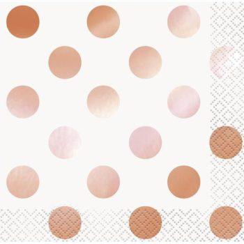 Tyylikkäät lautasliinat ruusukultaisilla pilkuilla Monenlaisiin juhliin kauniisti sopivat lautasliinat ruusukultaisilla yksityiskohdilla! Näissä serveteissä toisella puolella on kiiltäviä ruusukultaisia pilkkuja ja toisella puolella sekä sisäpuolella pilkut ovat mattapintaisia ja vaaleanpunaisia.