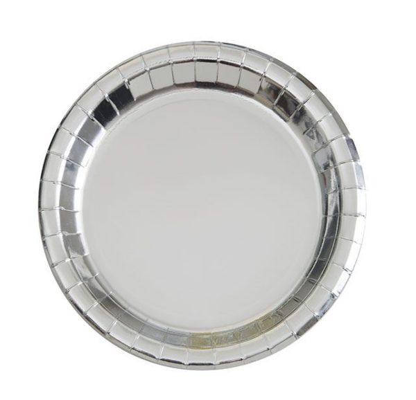 Hopeiset kiiltävät kertakäyttölautaset Upeat kiiltäväpintaiset lautaset kauniisti hopeansävyisenä. Lautaset tuovat juhlapöytään välittömästi tyylikästä tunnelmaa!