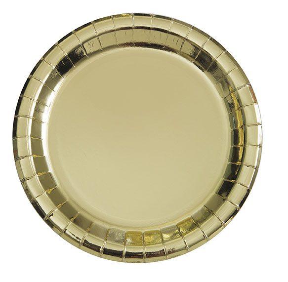 Kultaiset kiiltävät kertakäyttölautaset Upeat kiiltäväpintaiset lautaset kauniisti kullan sävyisenä. Lautaset tuovat juhlapöytään välittömästi tyylikästä tunnelmaa!