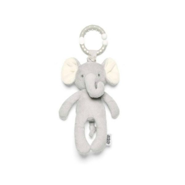 Mamas&Papas My First Elephant - Elefantti purulelu värinällä ja helinällä Helisevä ja värisevä pikkuelefantti kulkee helposti vauvan mukana paikasta toiseen! Lelun saa helposti kiinni esimerkiksi turvakaukaloon, siinä lelu heiluu viihdyttäen vauvaa automatkan ajan. Pururengasta on mukava nakerrella, kun hampaat tekevät tuloaan ja kutittavat vauvan ikeniä. Norsu on suloisenpehmeä ja sileä, ravistamalla se pitää helisevää ääntä, vetämällä norsu värisee hetken kiinnittäen vauvan huomion. Vauvat rakastavat norsun pitkiä jalkoja ja lelusta saa hyvän haliotteen.