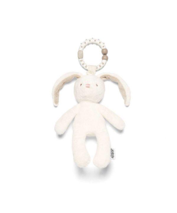 Mamas&Papas Jitter Bunny -pupu purulelu värinällä ja helinällä Helisevä ja värisevä pikkupupu kulkee helposti vauvan mukana paikasta toiseen! Lelun saa helposti kiinni esimerkiksi turvakaukaloon, siinä lelu heiluu viihdyttäen vauvaa automatkan ajan. Pururengasta on mukava nakerrella, kun hampaat tekevät tuloaan ja kutittavat vauvan ikeniä. Pupu on suloisenpehmeä ja sileä, ravistamalla se pitää helisevää ääntä, vetämällä pupu värisee hetken kiinnittäen vauvan huomion. Vauvat rakastavat pupun pitkiä jalkoja ja lelusta saa hyvän haliotteen.