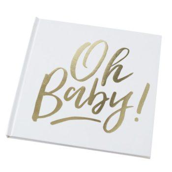 """Oh Baby valkoinen vieraskirja vauvan juhliin Laita tämä kirja esille vauvan ensimmäisiin juhliin: ristiäisiin, nimiäisiin tai 1-vuotissynttäreille. Jokainen juhlavieras voi jättää oman pienen viestinsä kirjan sivuille ja vuosien saatossa kirjasta muodostuu tärkeä ja arvokas muisto näistä ihanista juhlista. Kirjan sivuja voit koristella vauvan valokuvilla tai itse juhlissa napatuilla kuvilla! """" Tein vauvamme ristiäisiin kirjan, jonka sivuille olin laittanut jokaiselle vieraalle kolme täytettävää kohtaa: 1.) Minä toivon sinulle.... 2.) Paras saamani oppi elämästä... ja 3.) Tätä et ehkä tiennyt minusta...Ja vieraat saivat täydentää lauseet. Myöhemmin kehitin ristiäisissä otetut valokuvat ja lisäsin ne kirjaan, joten tyttäreni sai """"Minun ristiäiseni"""" -kirjan, jossa ovat meille rakkaimpien ihmisten viestit hänelle! """""""