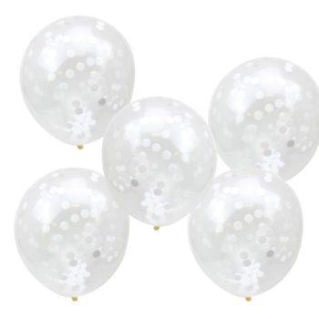 Läpinäkyvät Ginger Ray ilmapallot, sisällä valkoista confettia Nämä ilmapallot ovat tyylikäs valinta minkä tahansa juhlan koristeiksi, mutta sopivat kauniisti myös vauvan valokuvaukseen ensimmäisen vuoden aikana. Palloihin voit puhaltaa joko ilmaa tai heliumia, ravista palloja sitten, jotta kevyet valkoiset confetit leviävät tasaisesti pallojen sisällä!