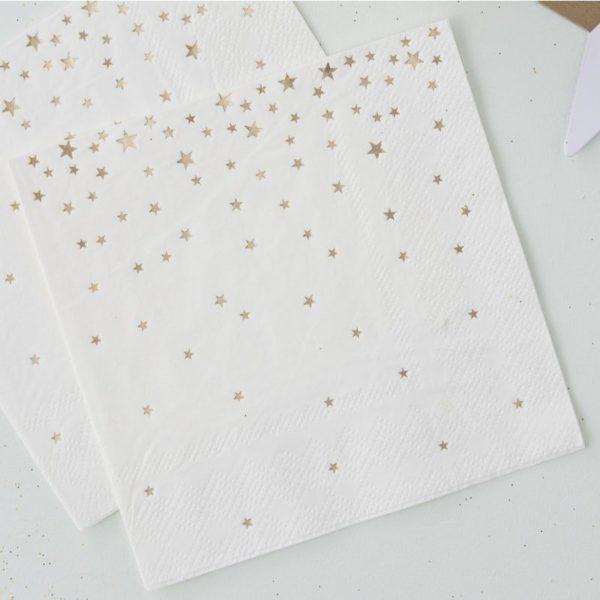 Ginger Ray valkoiset servetit kultaisilla tähdillä Monenlaisiin juhliin kauniisti sopivat lautasliinat kultaisilla yksityiskohdilla! Näissä serveteissä on kiiltäviä kultaisia tähtiä.