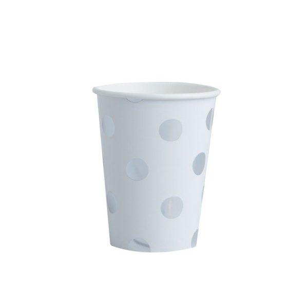 Hopeapilkullinen kertakäyttömuki Näissä paperimukeissa on hopeisia pilkkuja valkoisella pohjalla. Mukit tuovat juhlapöytään välittömästi tyylikästä tunnelmaa ja siivous sujuu helposti juhlien jälkeen!