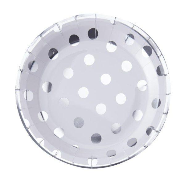 Hopeapilkullinen pyöreä kertakäyttölautanen Näissä paperilautasissa on hopeisia pilkkuja valkoisella pohjalla ja lautasissa on hopeiset reunat. Lautaset tuovat juhlapöytään välittömästi tyylikästä tunnelmaa ja siivous sujuu helposti juhlien jälkeen!