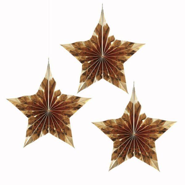 Kultaiset Fan tähtiviuhkakoristeet 3 kpl Tyylikkäillä Fan tähtikoristeilla saat aikaan upean taustan juhlakattaukselle tai koristeltua paikan, jossa juhlavieraista otetaan valokuvia. Paketissa on kolme tähtikoristetta.