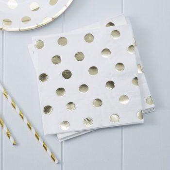 Kultapilkullinen servetti juhlapäivään Monenlaisiin juhliin kauniisti sopivat lautasliinat kultaisilla yksityiskohdilla! Näissä serveteissä on kiiltäviä kultaisia pilkkuja.