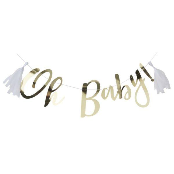"""Oh Baby! kiiltävä kultainen banneri ja valkoiset tasselit Ohuessa nauhassa on kultaisilla kiiltävillä kirjaimilla kirjoitettu teksti """"Oh Baby!"""" ja tekstin molemmille puolille saat roikkumaan mukana tulevat valkoiset tasselit. Upea banneri -viirinauha Baby Showereihin tai vauvan ensimmäisiin juhliin! Juhlien lisäksi voit käyttää tätä viirinauhaa vauvan valokuvauksessa, viiri on kevyt ja se on helppo ripustaa esimerkiksi seinälle!"""