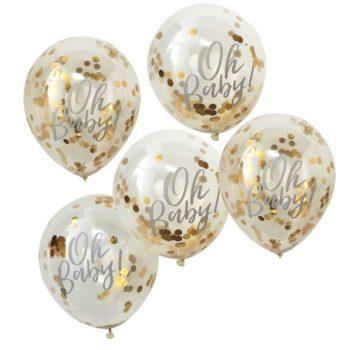 """Oh Baby! kultaisilla confeteilla täytetyt ilmapallot Nämä upeat ilmapallot ovat tyylikäs valinta Baby Shower -juhlan koristeiksi, mutta sopivat kauniisti myös vauvan valokuvaukseen ensimmäisen vuoden aikana. Palloihin voit puhaltaa joko ilmaa tai heliumia, ravista palloja sitten, jotta confetit leviävät tasaisesti pallojen sisällä! Läpinäkyvissä palloissa on teksti """"Oh Baby!""""."""