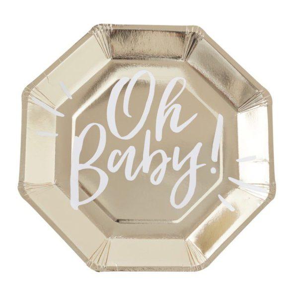 """Kultainen kiiltävä kertakäyttölautanen, Oh Baby! Upeat kiiltäväpintaiset paperilautaset kauniisti kullan sävyisenä. Keskellä lautasta on valkoinen teksti """"Oh Baby!"""". Lautaset tuovat juhlapöytään välittömästi tyylikästä tunnelmaa ja sopivat todella hyvin baby showereihin ja vauvan ensimmäisiin juhliin!"""