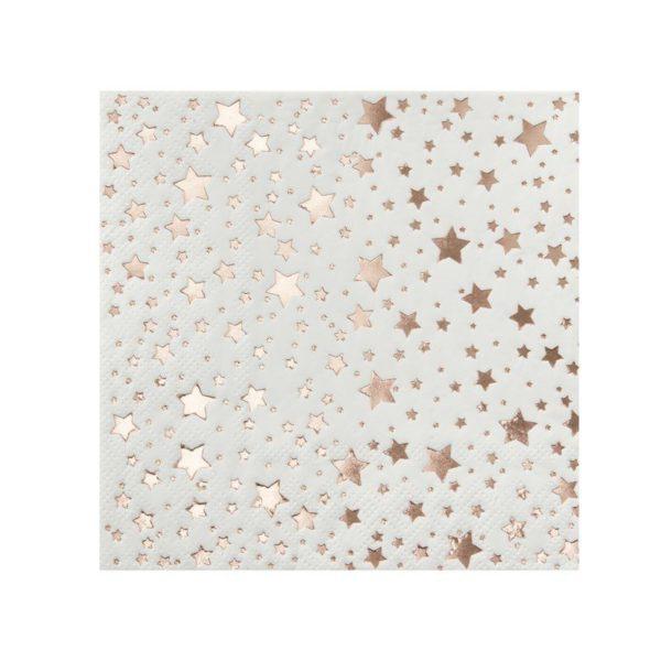 Servetti ruusukultaisilla tähdillä Upeissa ruusukultaisilla tähdillä koristelluissa lautasliinoissa on tyylikästä juhlan tuntua! Nämä lautasliinat sopivat kauniisti monenlaiseen kattaukseen!