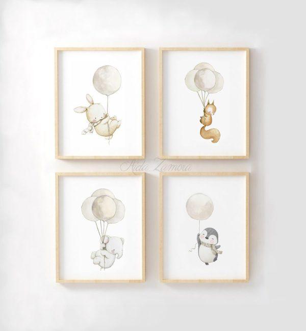 Aida Zamora laadukkaat printit lastenhuoneen seinälle tai hyllyn päälle, eläimet ja ilmapallot Jo pienet vauvat tykkäävät katsella eläimiä ja lapset rakastavat eläintarinoita ja pörröisiä eläinhahmoja. Siksi moni äiti valitseekin vauvanhuoneen seinälle nimenomaan eläintauluja. Aida Zamoran piirtämät eläintaulut ovat sävytykseltään sellaisia, että ne sopivat lastenhuoneeseen moneksi vuodeksi. Taulut ovat samaan aikaan kauniita ja herkkiä, eläintenkuvat vetoavat monenikäisiin lapsiin.