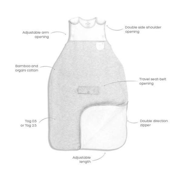 MORI Clever Sleeping Bag kevytunipussi 0-2 v Unipussit on kehitetty parantamaan vauvan unenlaatua ja auttamaan vanhempia vauvan nukutuksessa. Uskomattoman pehmeään unipussiin vauva on ihana sujauttaa unille ja mieltäsi rauhoittaa varmasti se, että unipussin materiaalit ovat erittäin laadukkaat, raikkaat ja vauvan iholle hyväätekevät (100% luonnonmateriaaleja, luomulaatuista puuvillaa ja bambua). Monet vauvat liikkuvat unissaan, jalat sätkivät ja peitto valuu pois pienen päältä, hetken päästä vauva havahtuu siihen, että on tullut kylmä. Unipussin sisällä vauva pysyy lämpöisenä koko yön, tämä auttaa pidempiin ja rauhallisempiin yöuniin.
