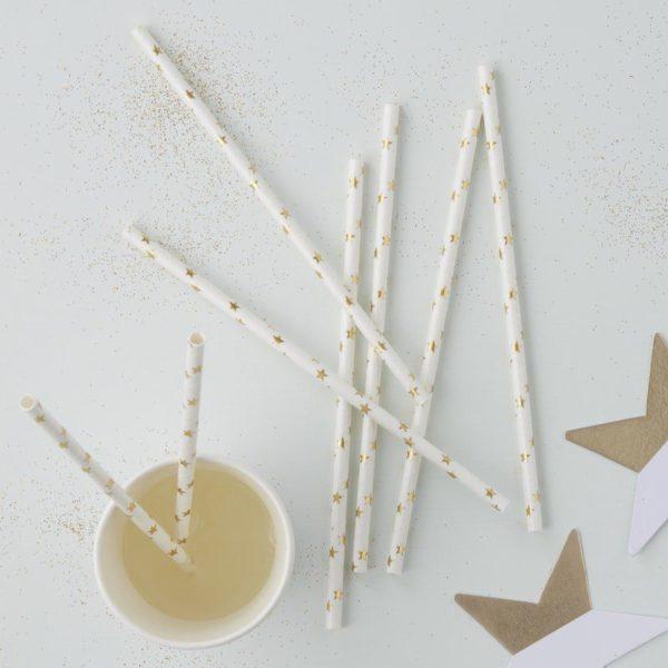 Ginger Ray valkoiset pillit kultaisilla tähdillä Lapset rakastavat pillejä! Pillien avulla saat lasten juhlakattaukseen näyttävyyttä helposti! Näissä valkoisissa pilleissä tuikkivat kullanhohtoiset pienet tähdet.