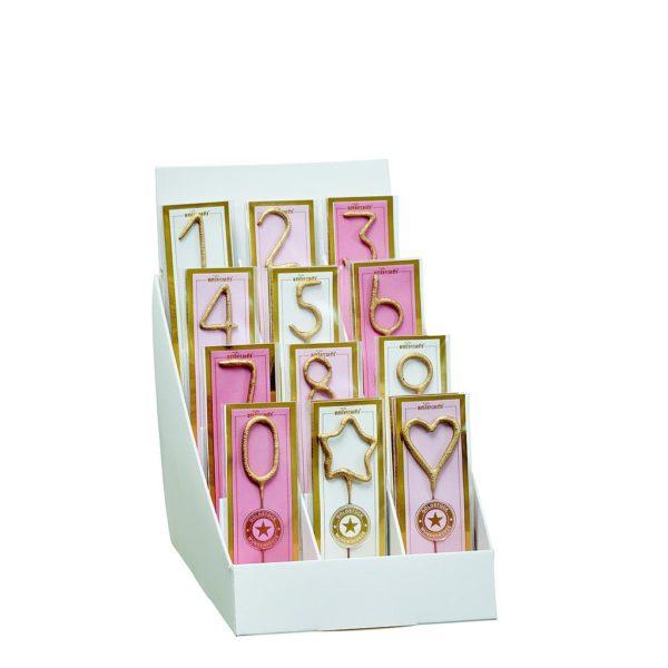 Mini tähtisädetikku kakun päälle, numerot Lisää ripaus säihkettä upeaan päivään sytyttämällä päivänsankarin kakun päälle pieni kultainen tähtisädetikku! Mini tähtisädetikkuja on numeroina 0-9 , näiden lisäksi valikoimasta löytyy tähti- ja sydänkuvioiset sädetikut.