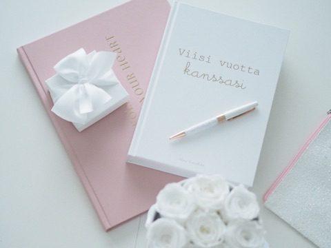 Viisi vuotta kanssasi valkoinen kirja päivittäisille muistoille Kirja on alunperin suunniteltu äidille tai isälle, joka voi kirjoittaa ylös muutaman lauseen jokaisesta päivästä perheensä parissa -ja antaa kirjan aikanaan lapselle, jotta tämä voi lukea, millaista oli arki hänen kanssaan. Voit kuitenkin käyttää kirjaa yhtä hyvin myös omana päiväkirjanasi tai kiitollisuuspäiväkirjana, jolloin kirjoitat päivittäin muutaman asian, joista olet elämässäsi kiitollinen. Tämä on erittäin vahva ja positiivinen tapa, joka vetää arkeesi paljon hyviä asioita.