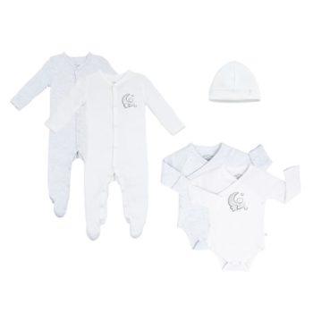 MORI Premature Baby pack keskosen oma setti, vaaleanharmaa/ valkoinen Mikä muu vaate on kosketuksissa vauvan ihoa vasten enemmän kuin pyjama? Pienet vauvat nukkuvat melkein koko ajan, siksi juuri pyjamaan kannattaa panostaa. Baby MORI pyjamassa yhdistyy puhtaan luomulaatuiset, ennennäkemättömän pehmeät kankaat sekä ajattoman tyylikäs design.
