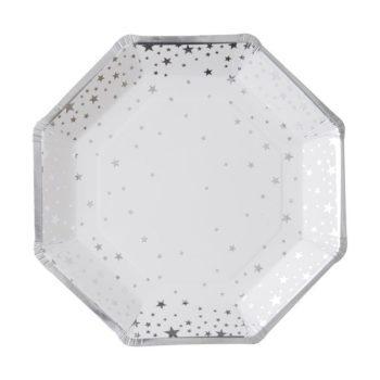 Ginger Ray kertakäyttölautanen pienillä hopeisilla tähdillä Näissä paperilautasissa on hopeisia tähtiä valkoisella pohjalla ja lautasissa on hopeiset reunat. Tähtilautaset tuovat juhlapöytään välittömästi tyylikästä tunnelmaa ja siivous sujuu helposti juhlien jälkeen!