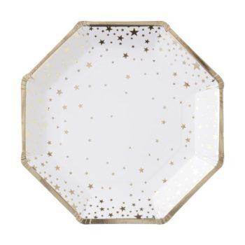 Ginger Ray kertakäyttölautanen pienillä kultaisilla tähdillä Näissä paperilautasissa on kultaisia tähtiä valkoisella pohjalla ja lautasissa on kultaiset reunat. Tähtilautaset tuovat juhlapöytään välittömästi tyylikästä tunnelmaa ja siivous sujuu helposti juhlien jälkeen