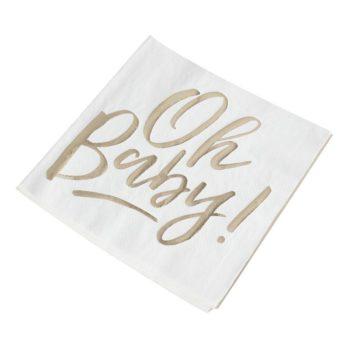 """Ginger Ray valkoinen Oh Baby servetti kultaisella tekstillä Baby shower -juhliin tai muihin vauvan juhliin sopivat tyylikkäät, valkoiset lautasliinat. Näissä serveteissä on teksti """"Oh Baby"""" kultaisella kiiltävällä folioinnilla."""