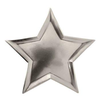 Hopeinen kiiltävä kertakäyttölautanen, tähti Upeat kiiltäväpintaiset lautaset kauniisti hopean sävyisenä. Tähdenmalliset lautaset saavat lapset ilahtumaan ja tuovat juhlapöytään välittömästi viimeisteltyä tunnelmaa