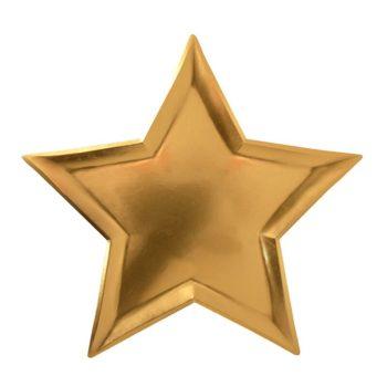 Kultainen kiiltävä kertakäyttölautanen, tähti Upeat kiiltäväpintaiset lautaset kauniisti kullan sävyisenä. Tähdenmalliset lautaset saavat lapset ilahtumaan ja tuovat juhlapöytään välittömästi viimeisteltyä tunnelmaa!