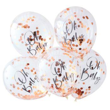 Rose Gold Oh Baby ruusukultaisilla confeteilla täytetyt ilmapallot Nämä upeat ilmapallot ovat tyylikäs valinta Baby Shower -juhlan koristeiksi, mutta sopivat kauniisti myös vauvan valokuvaukseen ensimmäisen vuoden aikana. Palloihin voit puhaltaa joko ilmaa tai heliumin ja ilman seosta, ravista (tai sähköistä hankaamalla) palloja sitten, jotta confetit leviävät tasaisesti pallojen sisällä!