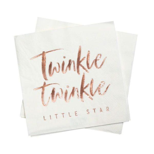 Ginger Ray Twinkle Twinkle servetti ruusukultaisella tekstillä Upeissa valkoisissa, ruusukultaisilla teksteillä koristelluissa lautasliinoissa on tyylikästä juhlan tuntua! Nämä lautasliinat sopivat kauniisti monenlaisiin vauvan- ja lastenjuhlakattauksiin!