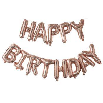 """Ginger Ray ruusukultainen folioilmapalloviiri Happy Birthday Upea koristebanneri """"Happy Birthday"""" -tekstillä sopii kauniisti synttärijuhliin! Pallot on helppo ripustaa roikkumaan valmiista pienistä rei'istä, mukana tulee nauha, jonka avulla kirjaimista saa helposti muodostettua viirin."""