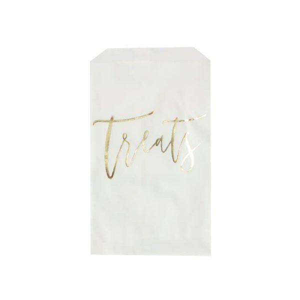 Ginger Ray TreatsHerkkupussit kultaisella tekstillä, 20 kpl. Valkoiset herkkupussit näyttävät kauniilta osana juhlapöydän kattausta: näihin voit sujauttaa popcornia, vaahtokarkkeja tai keksejä. Halutessasi voit sulkea pussit tarroilla. Lapset rakastavat tämän tyylisiä herkkupusseja!