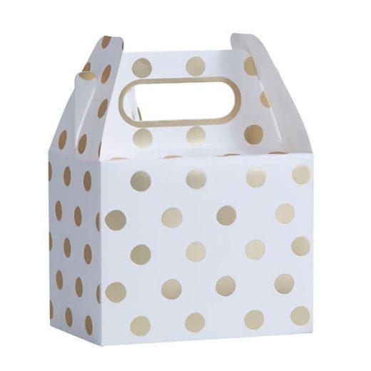 Ginger Ray Kultapilkulliset lahjalaatikot juhliin Tyylikkäästi hohtavien lahjalaatikoiden sisälle sujautat pienet lahjat tai herkut juhlavieraille! Näissä boxeissa on kultaisia pilkkuja valkoisella pohjalla ja kantokahvat helpottavat kantamista.