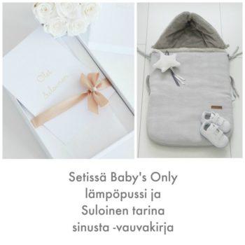 Baby's Only vauvan lämpöpussi turvakaukaloon jaSuloinen tarina sinusta -vauvakirja samassa paketissa Tähän settiin kuuluu supersuosittu Baby's Onlyn lämpöpussi sekä tyylikäs, valkoinen Suloinen tarina sinusta -vauvakirja.