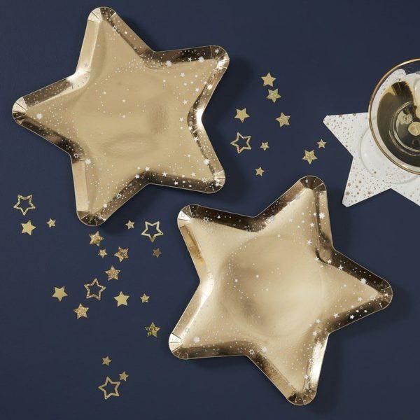 Ginger Ray kultainen kiiltävä kertakäyttölautanen, tähti Upeat kiiltäväpintaiset lautaset kauniisti kullan sävyisenä. Tähdenmalliset lautaset saavat lapset ilahtumaan ja tuovat juhlapöytään välittömästi viimeisteltyä tunnelmaa!