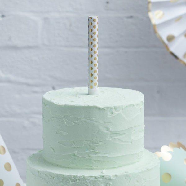 Ginger Ray kultapilkullinen Cake Fountain suihkuava sädekynttilä Kynttilät kuuluvat jokaiseen synttärikakkuun ja eniten valokuvia juhlista otetaan juuri kynttilöiden puhalluksen aikana! Luo uskomattoman kaunis juhlanumero tästä tärkeästä hetkestä käyttämällä kakun päällä suihkuavaa sädekynttilää ja tee juhlista ikimuistoiset!