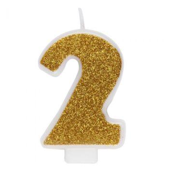 Ginger Ray kultaisenkimmeltävä kakkukynttilä, saatavilla numerot 0-9 Näyttävä glitterpintainen kakkukynttilä kruunaa synttärisankarin kakun! Voit käyttää kynttilöitä myös pienempien leivosten päällä!